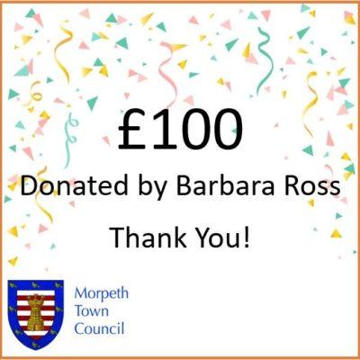 Mayor's Charity Donation Barbara Ross £100