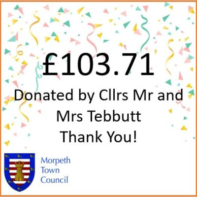 Mayor's Charity Donation Cllrs Mr And Mrs Tebbutt £103.71 - Click to open full size image
