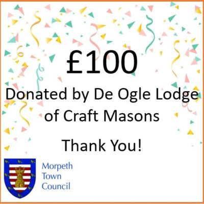 Mayor's Charity Donation De Ogle Lodge Of Carft Masons £100 - Click to open full size image