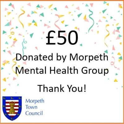 Mayor's Charity Donation Morpeth Mental Health Group £50 - Click to open full size image