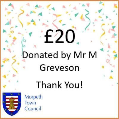 Mayor's Charity Donation Mr M Greveson £20