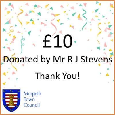 Mayor's Charity Donation Mr R J Stevens £10