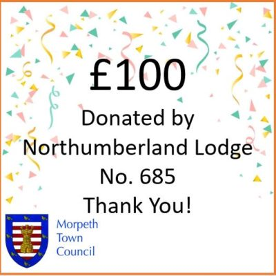 Mayor's Charity Donation Northumberland Lodge No. 685 £100 - Click to open full size image