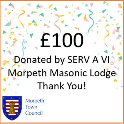 Mayor's Charity Donation Serv A Vi Morpeth Masonic Lodge £100
