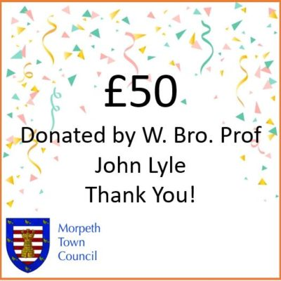 Mayor's Charity Donation W. Bro. Prof John Lyle £50