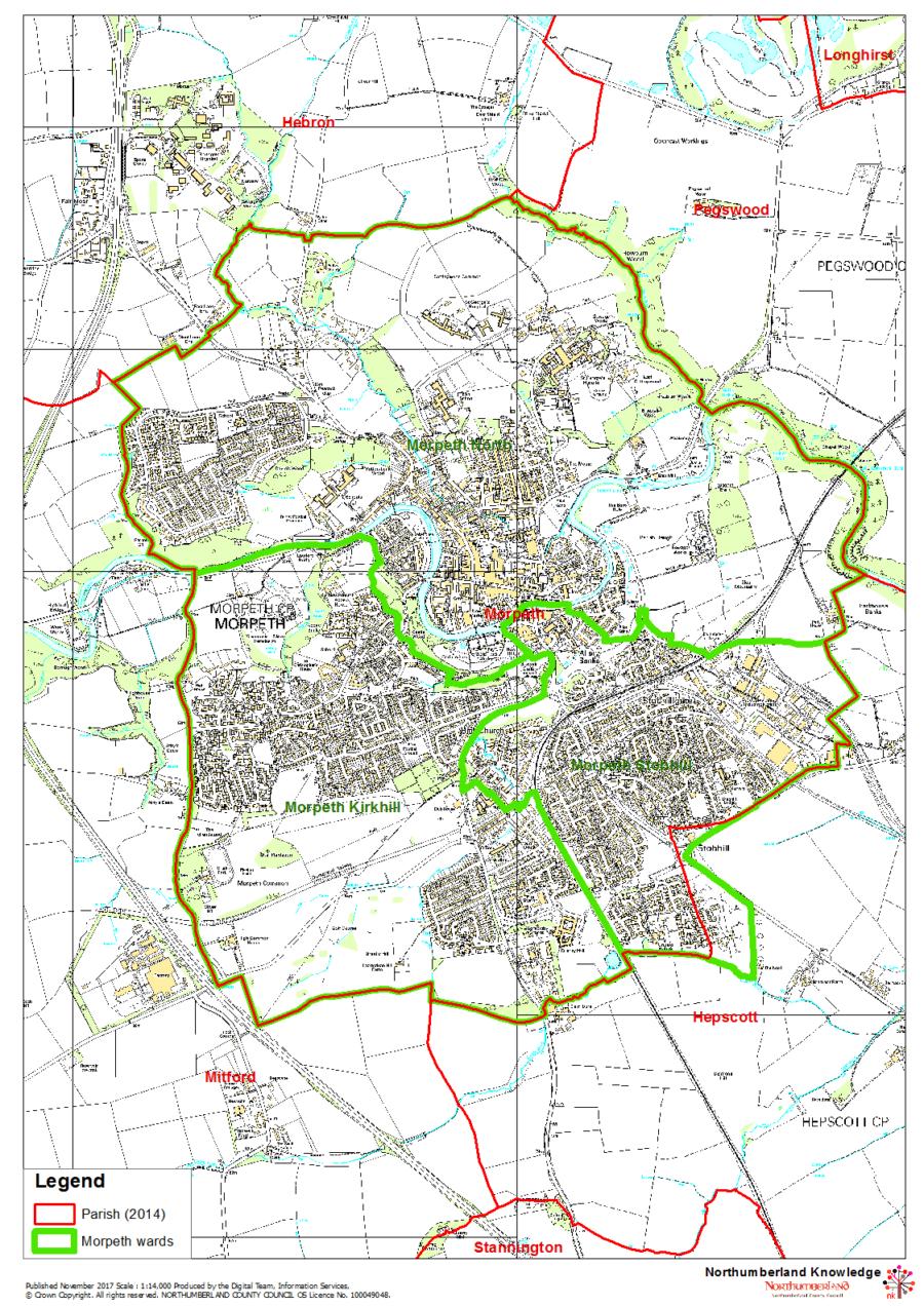 Morpeth Parish Wards Map