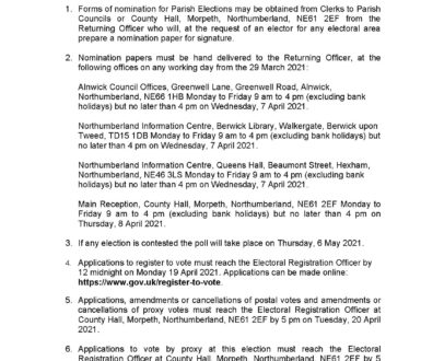 Parish Notice Of Election 6 May 2021 Page 1