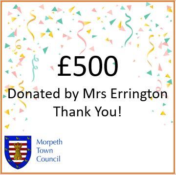 Mayor's Charity Donation Mrs Errington £500